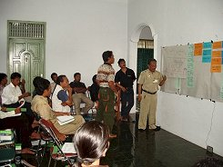 Farmer representatives from the villages in and surrounding TPNP develop their plans during a stakeholders' meeting.
