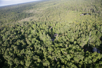 An aerial view of Camp Leakey
