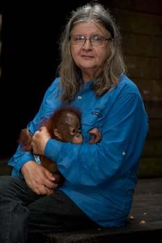 "Galdikas holding newly confiscated orangutan infant ""Douglas Soledo"" in 2010"