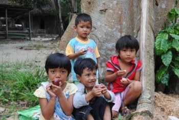 Local children of Pasir Panjang enjoying mangosteen fruits.