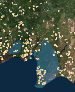 Hotspots of the fires in Indonesia
