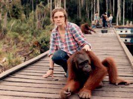 Birute with Rombe the orangutan