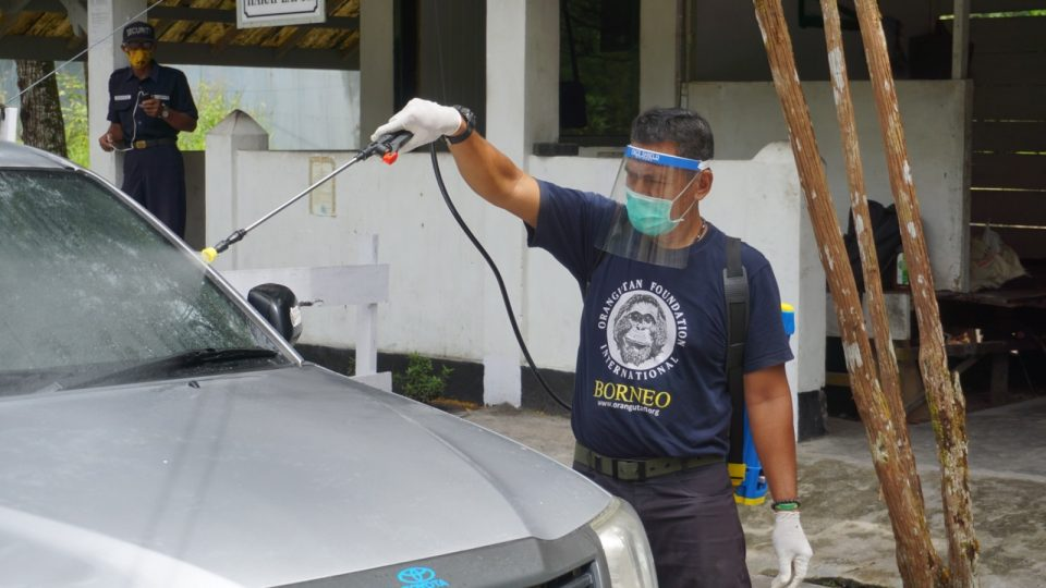 car being sprayed with disinfectant